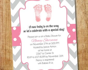 Pink and Gray Baby Shower Invitation- Printable