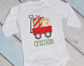 Christmas Present Holiday Wagon Onesie or Shirt Personalized