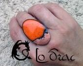 TALVERA : bague en cuivre émaillé, orange