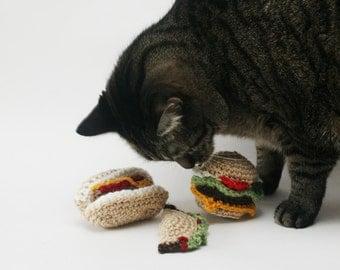 Cheeseburger! Taco! Hot Dog! - Knit / Crochet - Cat Toys with Catnip