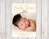 Baby Girl Floral Script Modern Baby Girl Birth Announcement Card Digital Printable Baby Announcement
