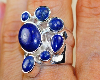 Elegant Sodalite & 925 Sterling Silver Ring size 7.5 by Silver Trend