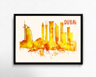 Dubai Skyline Watercolor Poster - Cityscape Painting Artwork - Art Print, Multiple Sizes - 10x8 to 36x24 - Watercolor Painting Style