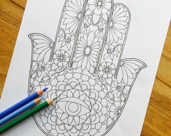 Hamsa One - Hand Drawn Adult Coloring Page Print