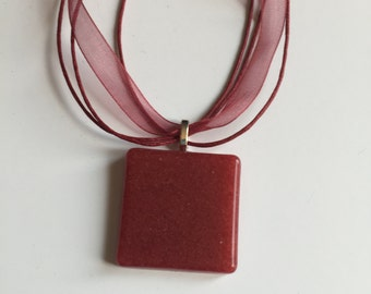 Handcrafted maroon resin pendant with 16'' maroon multi strand necklace