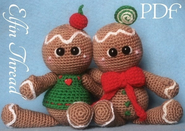 Elfin Thread Gingerbread Cookies Dolls Amigurumi PDF Pattern