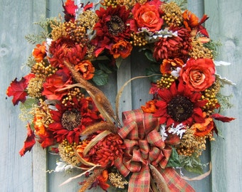 FALL WREATH  Beautiful rich colors !!! Harvest Wreath, Autumn Wreath, Sunflower wreath, Door Wreath, Silk Floral Wreath, Wreath for Door