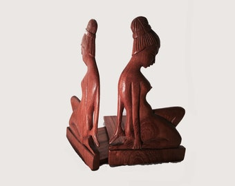 Handmade African Wood Bookends - African Bookends, Wooden Bookends, Tribal Bookends