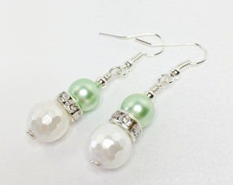 Mint Green and White Earrings Shell Pearl Earrings Wedding Drop Earrings Bridesmaid Jewelry Mother of the Bride Gift Sparkly Earrings