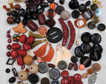 Mostly Beads & Buttons Lot #4:  Autumn Tones