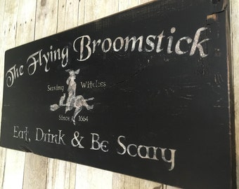 "Hand Painted Vintage Style ""Flying Broomstick"""