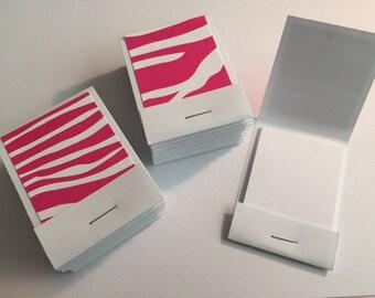 20 Matchbook Notepads Matchbook Favors - Pink & White Zebra, Handmade