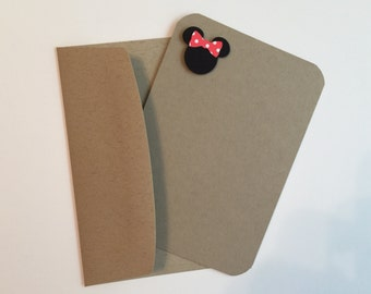 Handmade Minnie Mouse Flat Note Cards Set of 10 - Stationery - Stampin Up""