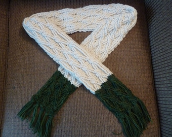 Color Block Cable Scarf Crochet Pattern for Women or Men