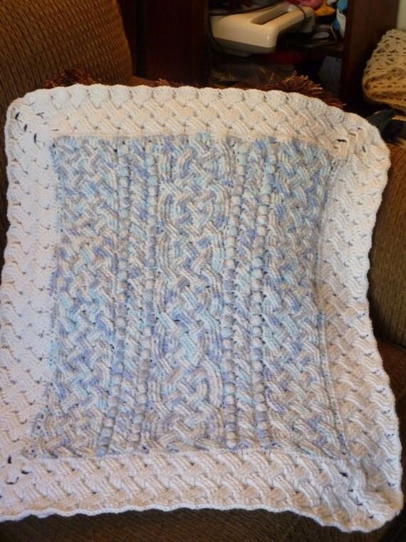 Blue Cloud Baby Cable Braided Aran Afghan Blanket Crochet ...