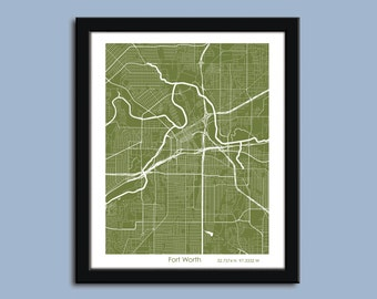 Fort Worth map, Fort Worth city art map, Fort Worth wall art poster, Fort Worth, Texas decorative map