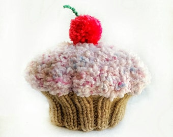 Custom Color Knit Baby / Toddler Cupcake Hat / Photo Prop