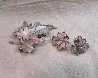 Vintage Crown Trifari Silver Leaf Pin and Earring Set