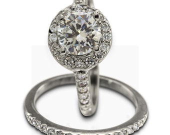 Halo Engagement Ring Set In 14k White Gold With 1 Carat Center Diamond