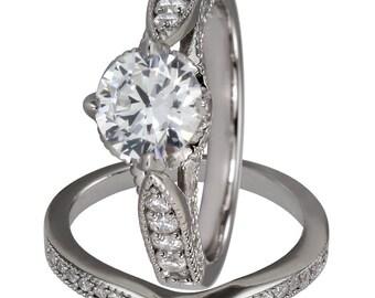 Bridal Sets Wedding Band Sets Engagement Rings 1.25ct Diamond 14K White Gold