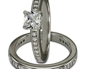 Princess Cut Diamond Bridal Sets Engagement Rings Wedding Jewelry 14k White Gold