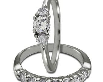 Diamond Bridal Sets 1 Carat Diamonds Wedding Band Sets & Diamonds 14K White Gold