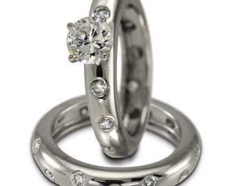 Diamond Bridal Set In 14k White Gold With A Bezel Ring Design & Diamond Accents
