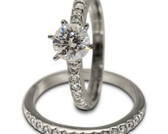 1 Carat Diamond Engagement Ring Set In 14k White Gold With Pave Diamond Accents