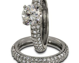 Bridal Sets Wedding Band Sets With 1 Carat Diamond Center & 1.10Ct Pave Diamonds
