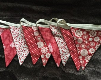 Christmas bunting, Scandi fabric in red and cream