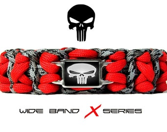 PUNISHER ~Wide Band~ Nylon X Series BRACELET in Titanium Gray Camo & **Your Choice Stitching Color** Skull Logo Insignia Mens Accessory Gear