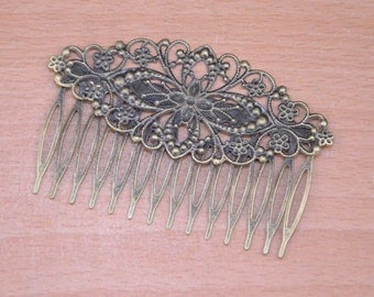 10pcs 80x50mm bronze Hair combs,Antique Bronze metal combs,14 Teeth Barrette Hair Combs with filigree flower