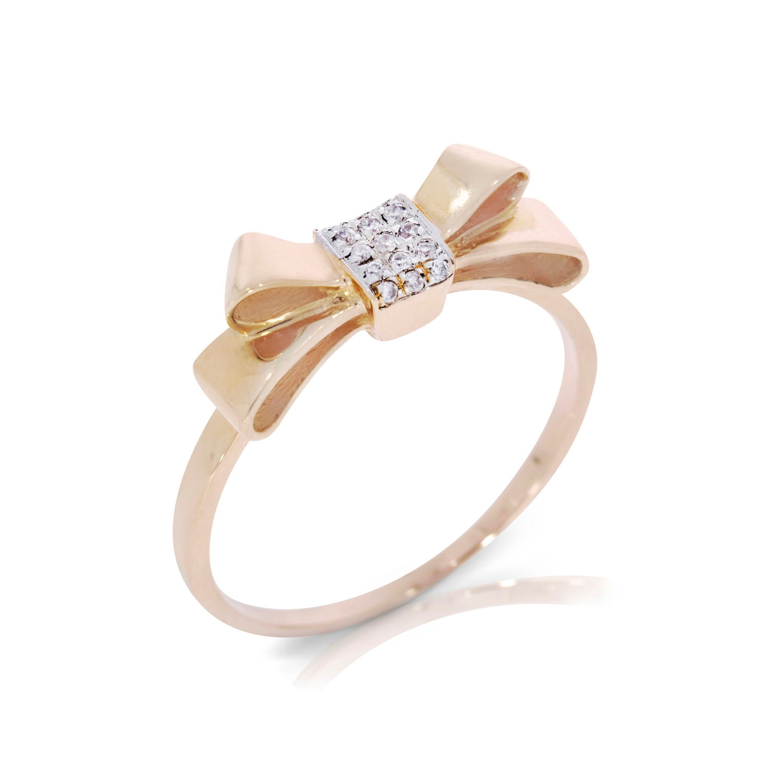 gold engagement ring bow ring bow tie ring 14k