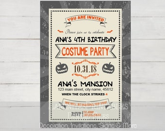 Halloween invitation, halloween birthday invitation, Halloween birthday party, costume party invitation, halloween 1st birthday invitation