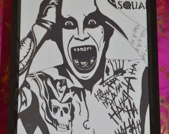 Joker (Suicide Squad) Black and White A4 Print (Lustre Print)