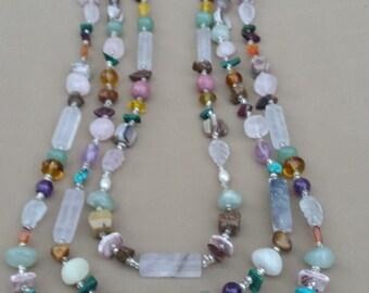 Multi-Stranded Semi-Precious Stone and Glass Necklace