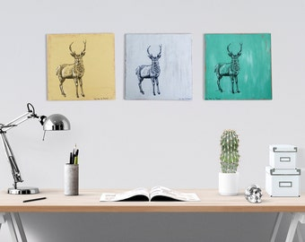Print on wood, Black and white  deer illustration, Cabin decor, Wall decor, Set of 3, Dorm decor, Rustic wood signs, Thanksgiving gift
