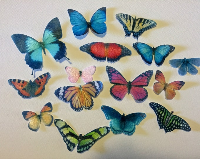 30 Edible Butterflies, Double Sided 3-D Wafer Paper Toppers for Cakes, Cupcakes or Cookies