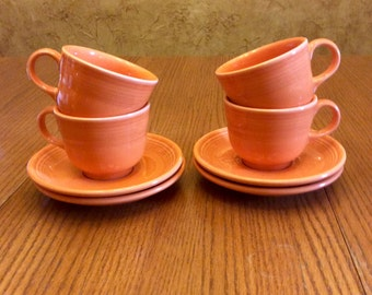 Vintage Fiesta Cups & Saucers in Persimmon Orange,  3 sets available