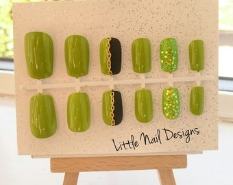 Lime Green  Matte Black Glitter hand painted False Nails