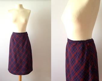 Vintage 60s skirt | Plaid Pencil Skirt | 1960s Tartan skirt | Wool Plaid Skirt | 60s Skirt | Medium Large