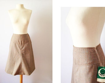 Vintage 70s Skirt  | 70s High Waist Skirt | Vintage A-Line Skirt | Brown Medium M Large L
