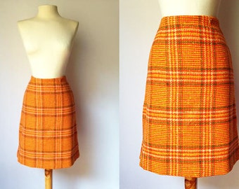 Vintage Houndstooth Skirt | 60s Skirt | 60s High Waisted Wool Skirt A-Line | 60s Pencil Skirt | Small S