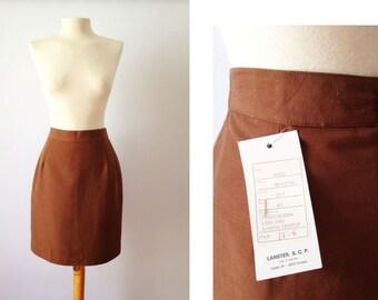 Vintage 60s Skirt | Linen High Waisted Pencil Skirt | Brown Skirt | Medium M