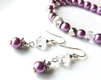 Purple Lilac Pearl Bracelet Earring Set, Matching Jewelry, Wedding Bridal Accessories, Made to Order Bridal Jewelry