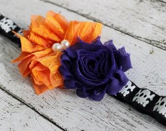 Halloween headband, skull baby bow, skull headband, black and orange headband, baby headband