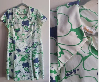 1970's Betty Hartford Cotton Dress - Abstract Floral, Kick Pleats