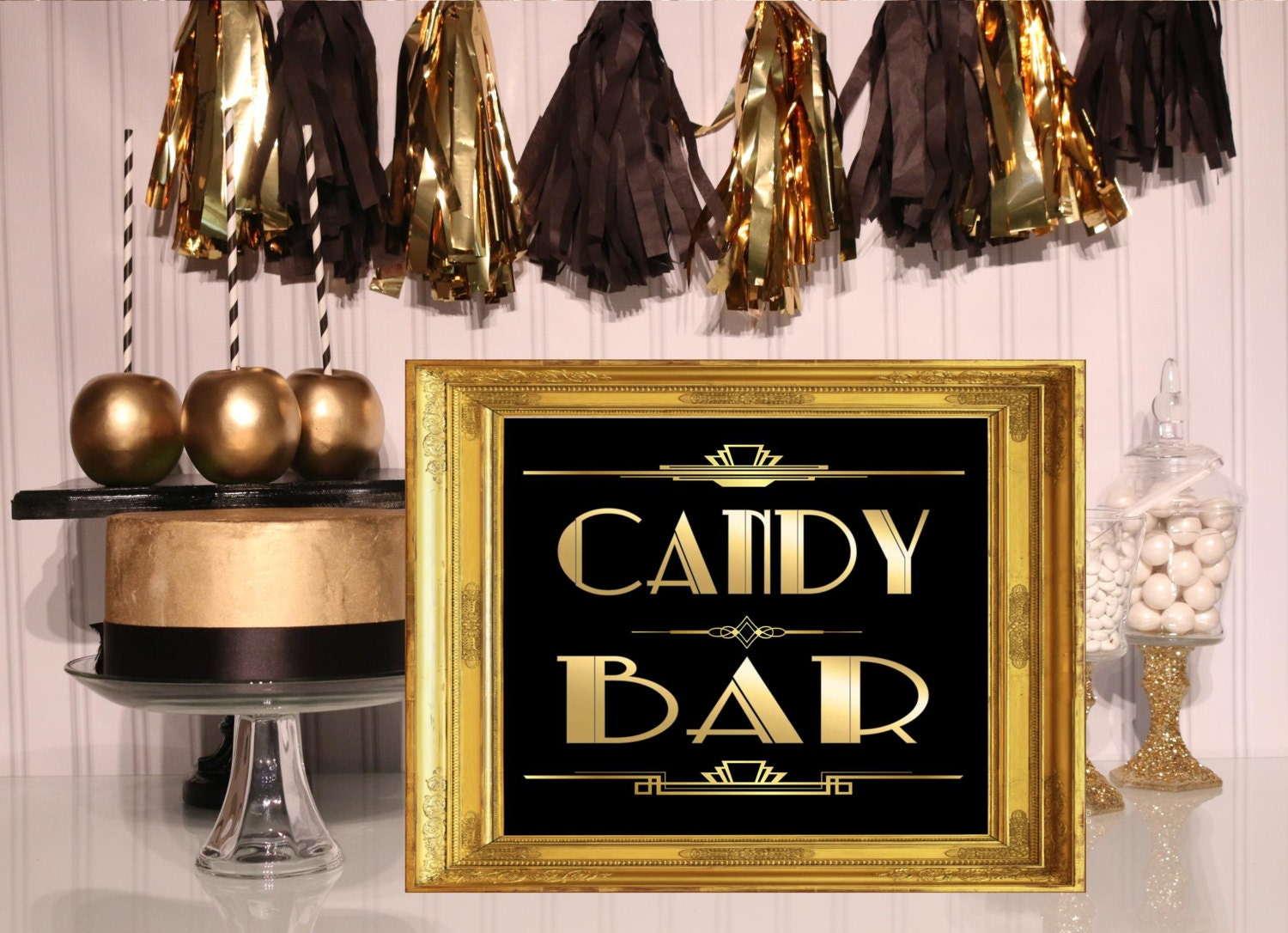 printable candy bar signgatsby party decoration roaring. Black Bedroom Furniture Sets. Home Design Ideas