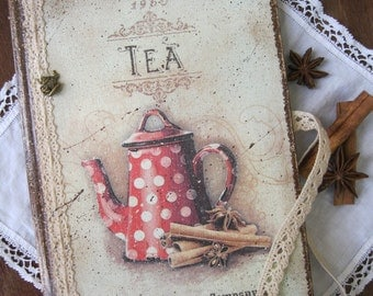 Teapot recipe book, blank recipe book, recipe organizer, cookbook, kitchen book, recipe notes, rezeptheft, rezeptbuch, vintage style
