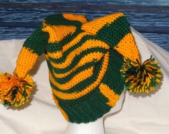 crochet team spirit hats,Oregon duck /green bay packers item, winter hats, game hats, jester hats